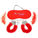 Fifty shades Soft Fluffy Feathers Romantic Love-Cuffs + Eyeshade + Feathers Set – Red (Intl)