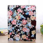 Magnetic Wallet Floral Jacquard Leather Cover Case For ipad 2 3 4 Black