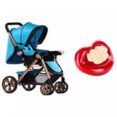 Tickle Baby Two-way Four-wheel Folding Aluminum Alloy Baby Stroller (Blue) and with Baby Pacifier