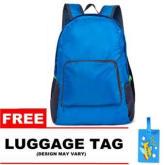Pilot Travel Accessories 1016 Korean Style Fashion Travel Backpack Picnic Bag Multifunctional Folding Ultralight Soft Skin Nylon Bag (Blue)Free Luggage Tag