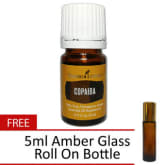 Young Living Copaiba Essential Oil 5ml, 100% Pure and Therapeutic-Grade with FREE 5ml Amber Glass Roll On Bottle