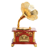 Wooden Gramophone Music Box Music Box Retro Nostalgia Crafts (Brown)