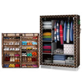 D&d D&D 1312 Fashion Classic Cloth Wardrobe(Chocolate) With 1212 Shoe Storage Cabinet(Brown Stripe)