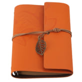Oem Retro Leather Strap Leaves Notebook (Orange)