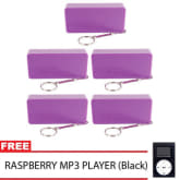 Unbranded Portable 5600mAh Power Bank Set of 5 (Violet) with Free MP3 Player with LCD (Black)