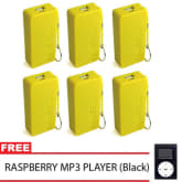 Unbranded Portable 5600mAh Power Bank Set of 6 (Yellow) with Free MP3 Player with LCD (Black)