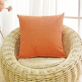 Linen Nap Solid Cushion Cover Home Decor Sofa Throw Pillow Orange (Intl)