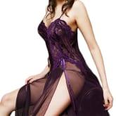 Sexy Women Lingerie Long Lace Gown+G-string Babydoll Underwear Nightwear Chemise (Intl)