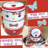 Rantang Hello Kitty Kitten Stainless 3 Tingkat Import