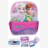 Bgc BGC Disney Frozen Fever Elsa Anna Kantung Depan Tas Ransel Anak Sekolah TK + Lunch Bag Aluminium Tahan Panas + Kotak Pensil + Alat Tulis - Purple Pink