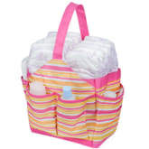 Autumnz Portable Diaper Caddy Baby Organizer Carrier Bag (Pink Stripes)