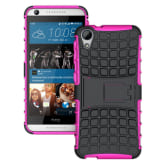 Moonmini For HTC Desire 626 Tire Stripe Hybrid Combo Body Armor High Impact Shockproof Case Cover Defender with Kickstand - Hot Pink