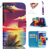 Moonmini For Samsung Galaxy S5 Mini PU Leather Flip Stand Case Cover Wallet with Card Holders and Lanyard - Seascape