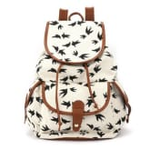 4ever Vintage Swallow Canvas Travel School Bag Backpack (White)