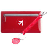 M Square Travel Card Holder Passport Cover Documents Organizer + Keychain Lanyard (Red)