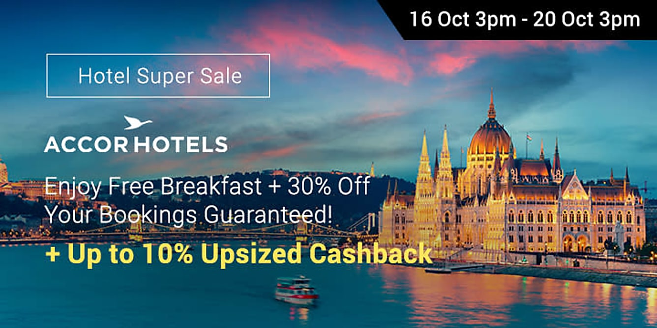 AccorHotels 30% off + 10% upsized Cashback
