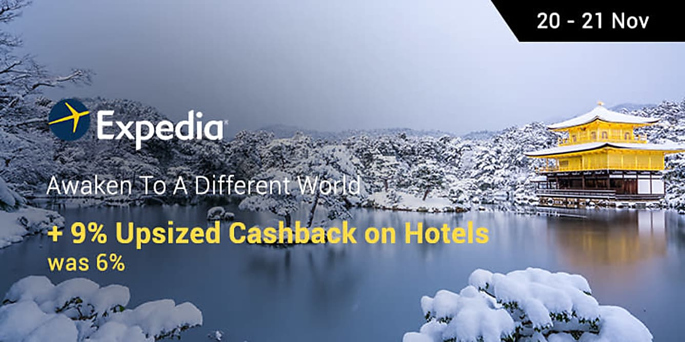 Expedia awaken to a different world 9% cashback