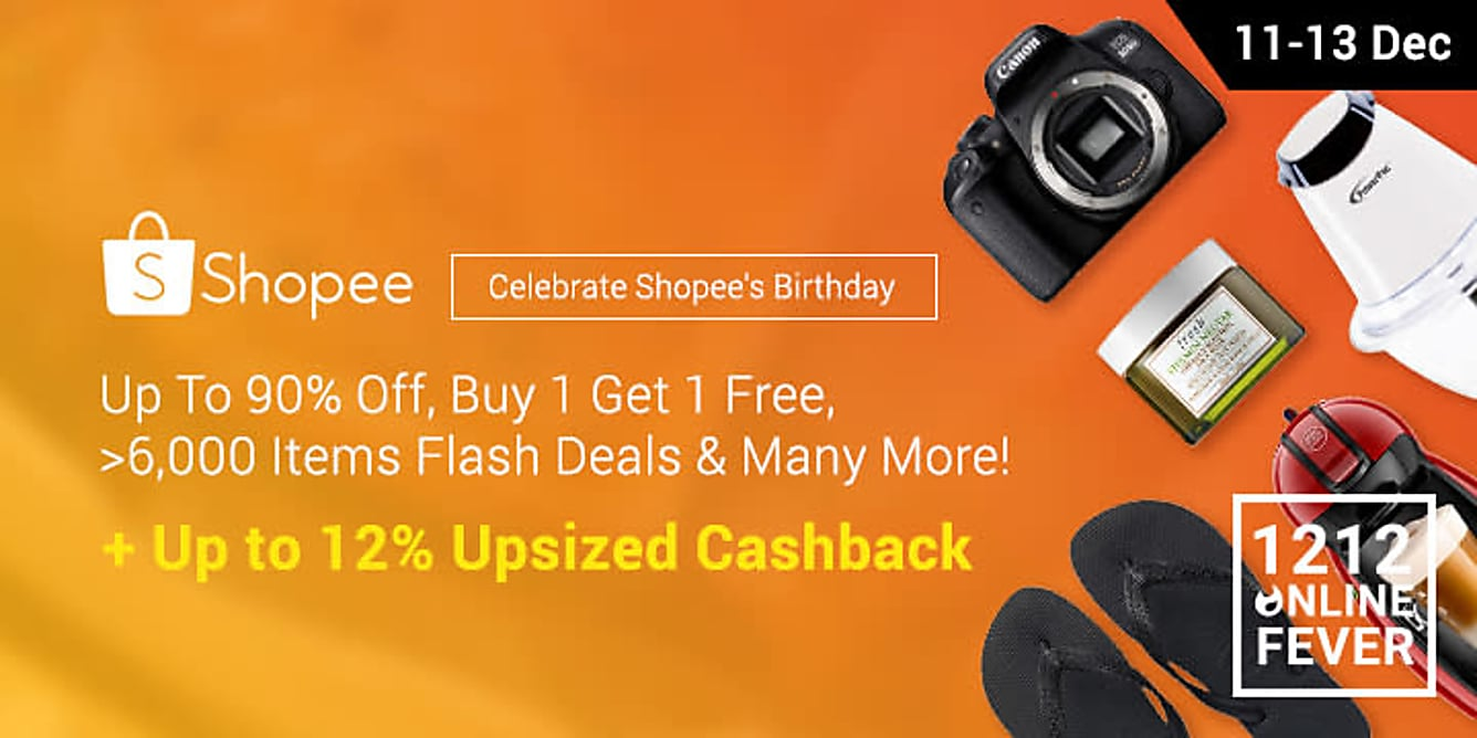 Shopee Birthday up to 12% cashback