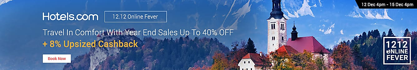 Hotels.com 13 Dec 8% upsized Cashback