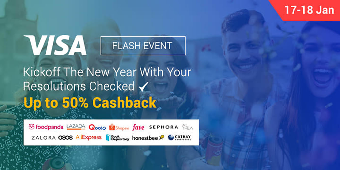 Visa flash sale up to 50% Cashback 17-18 Jan