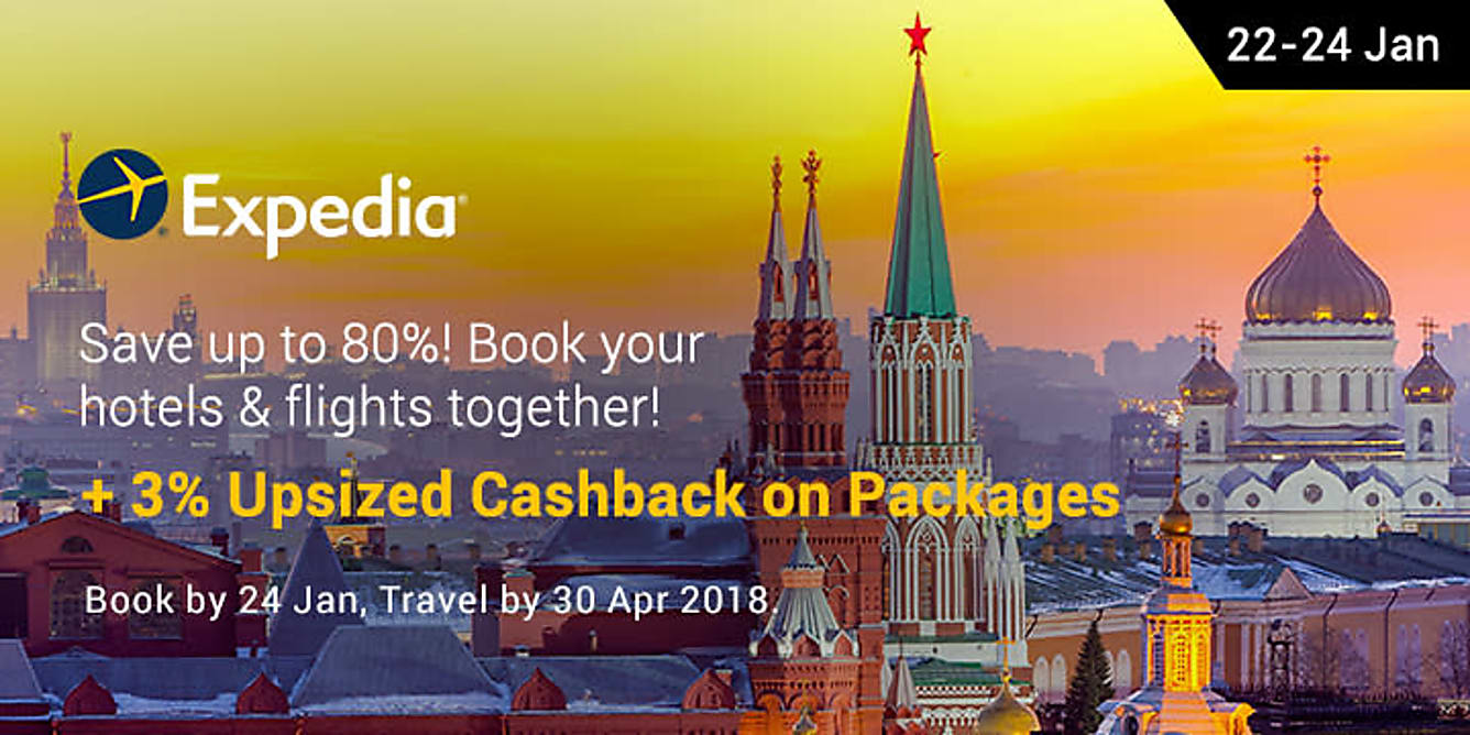 Expedia packages 3% upsized Cashback from 22-24 jan