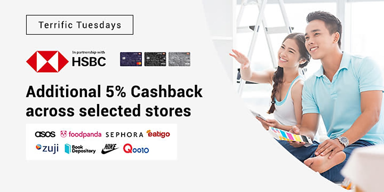 HSBC Terrific Tuesdays additional 5% Cashback on selected stores
