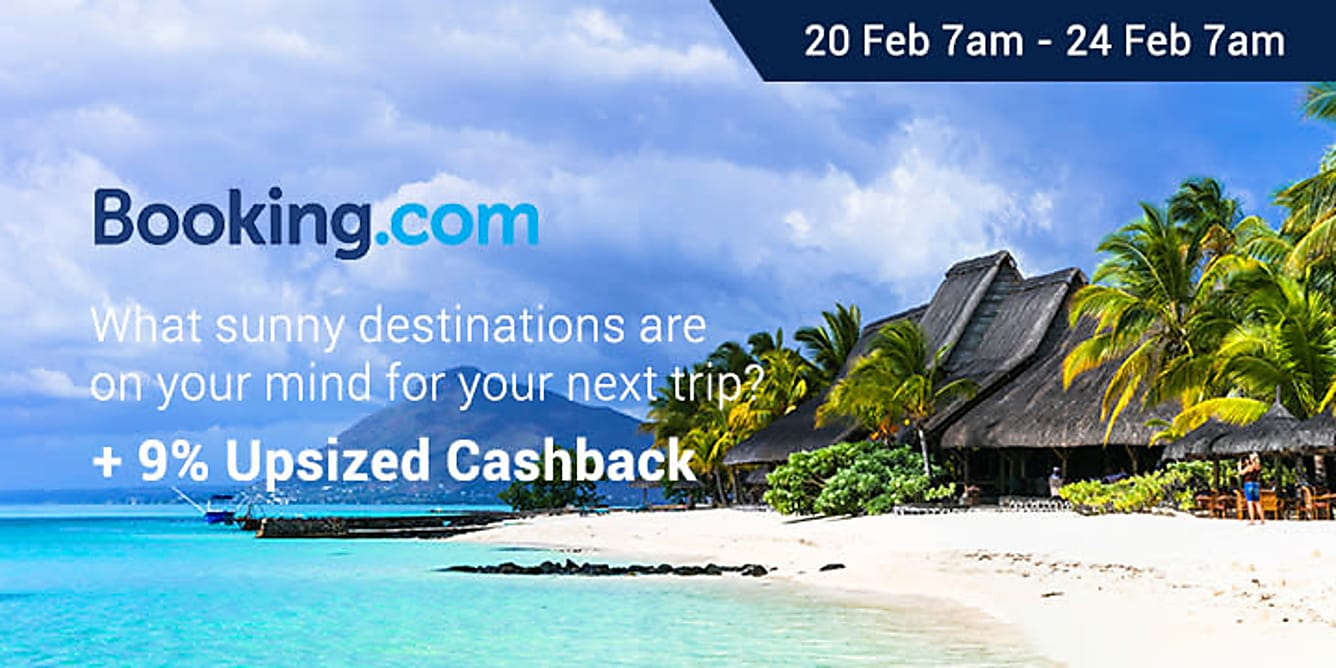 Booking.com 9% upsized Cashback 20 feb 7am - 24 feb 7am