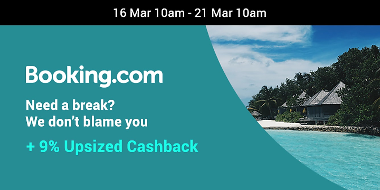 Booking.com 9% upsized Cashback from 16-21 March