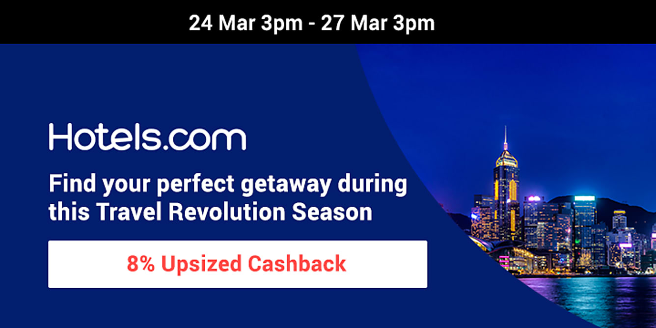 Hotels.com 8% upsized Cashback from 24-27 March