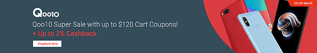 Qoo10 up to $120 cart coupons from 23-25 March