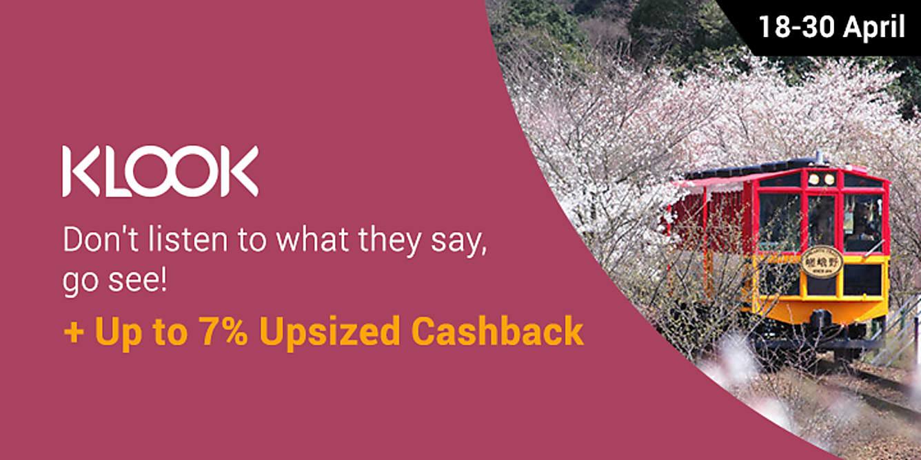 Klook up to 7% upsized Cashback