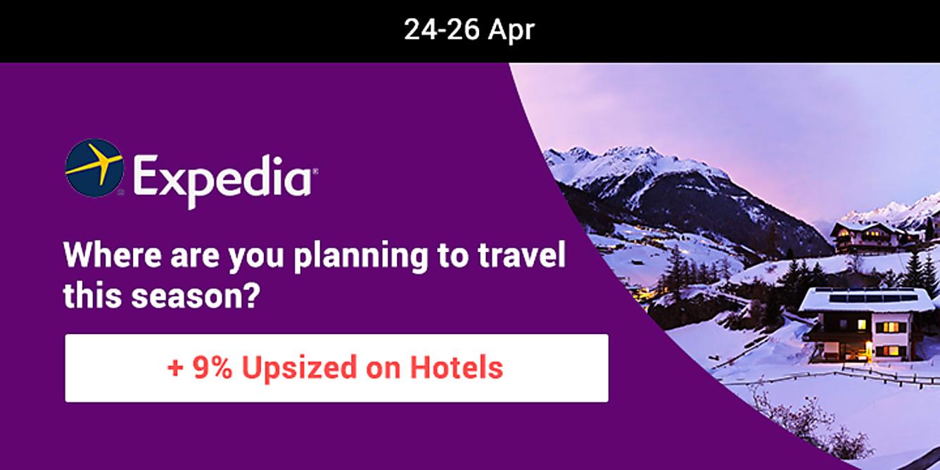 Expedia hotels 9% upsized Cashback