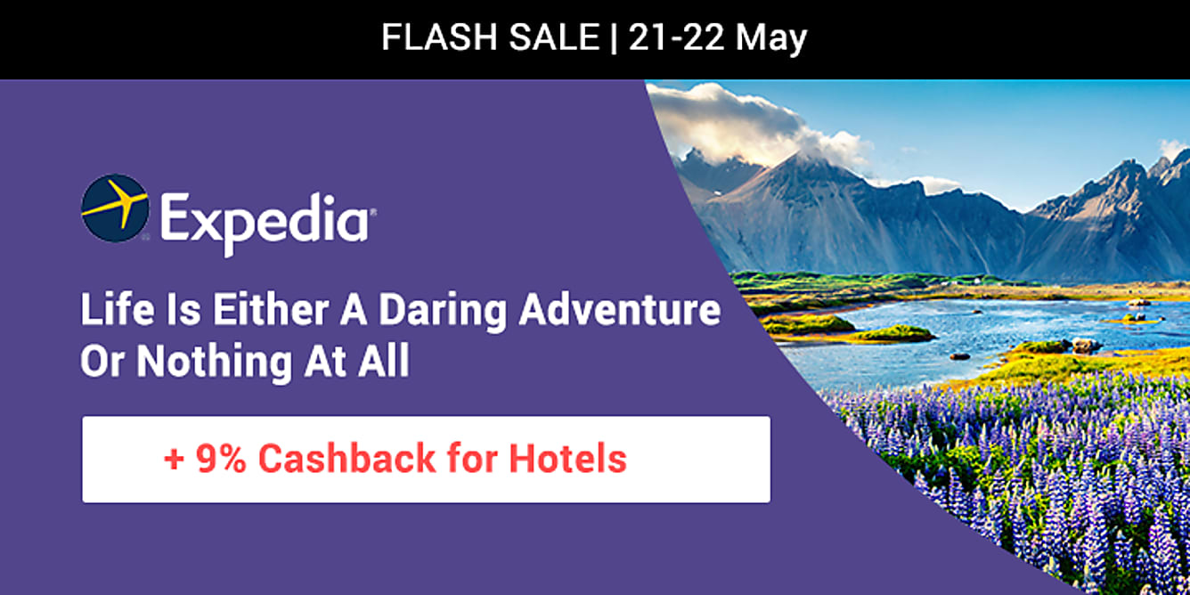Expedia 9% upsized cashback till 22 may