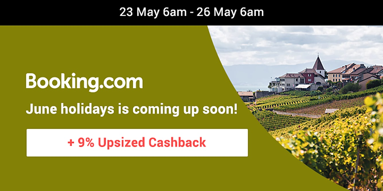 Booking.com 9% upsized cashback till 26 may 6am