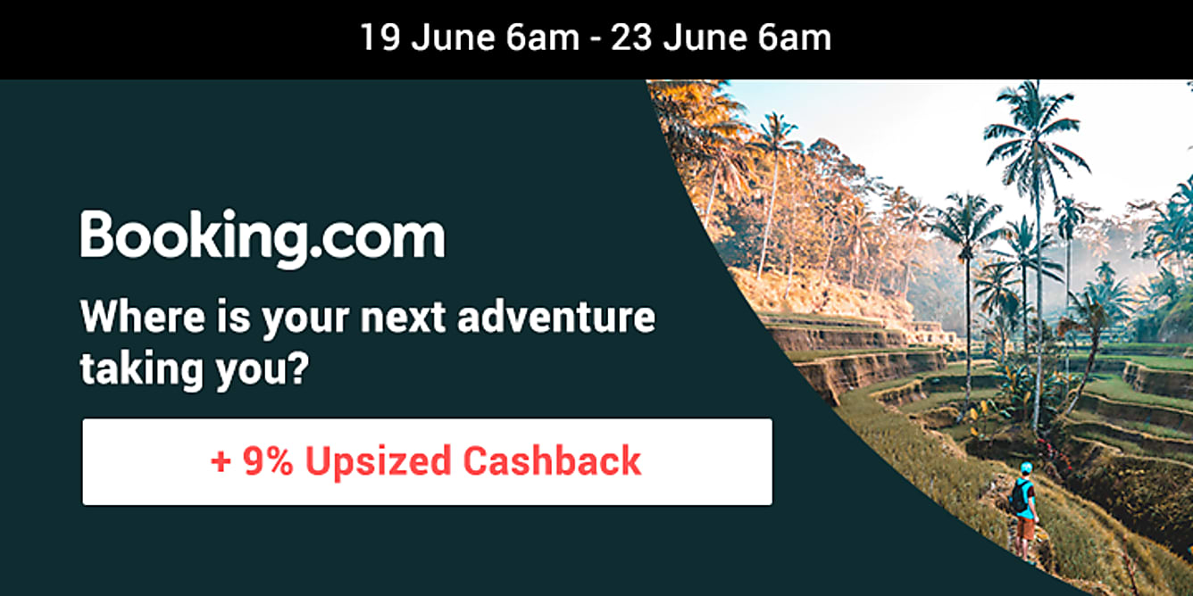 Booking.com 9% upsized cashback from 19 june