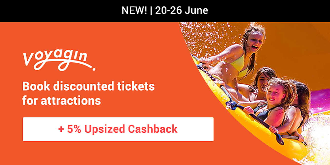 Voyagin 5% upsized cashback from 20-26 june