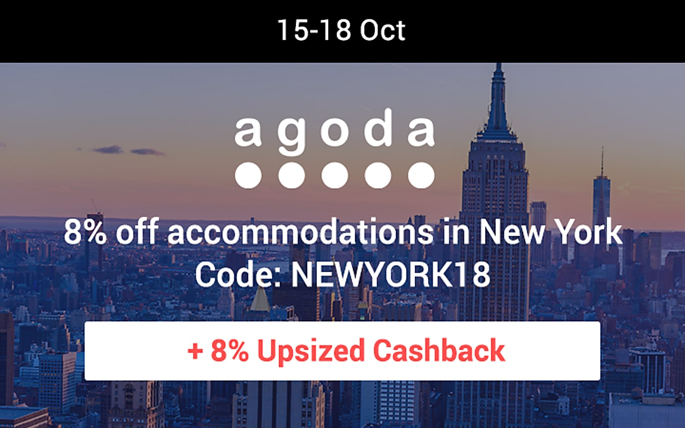 Agoda 8% upsized cashback