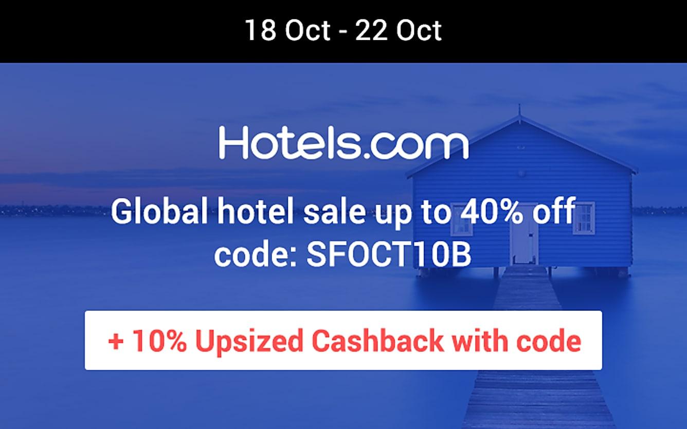 Hotels.com 10% upsized cashback