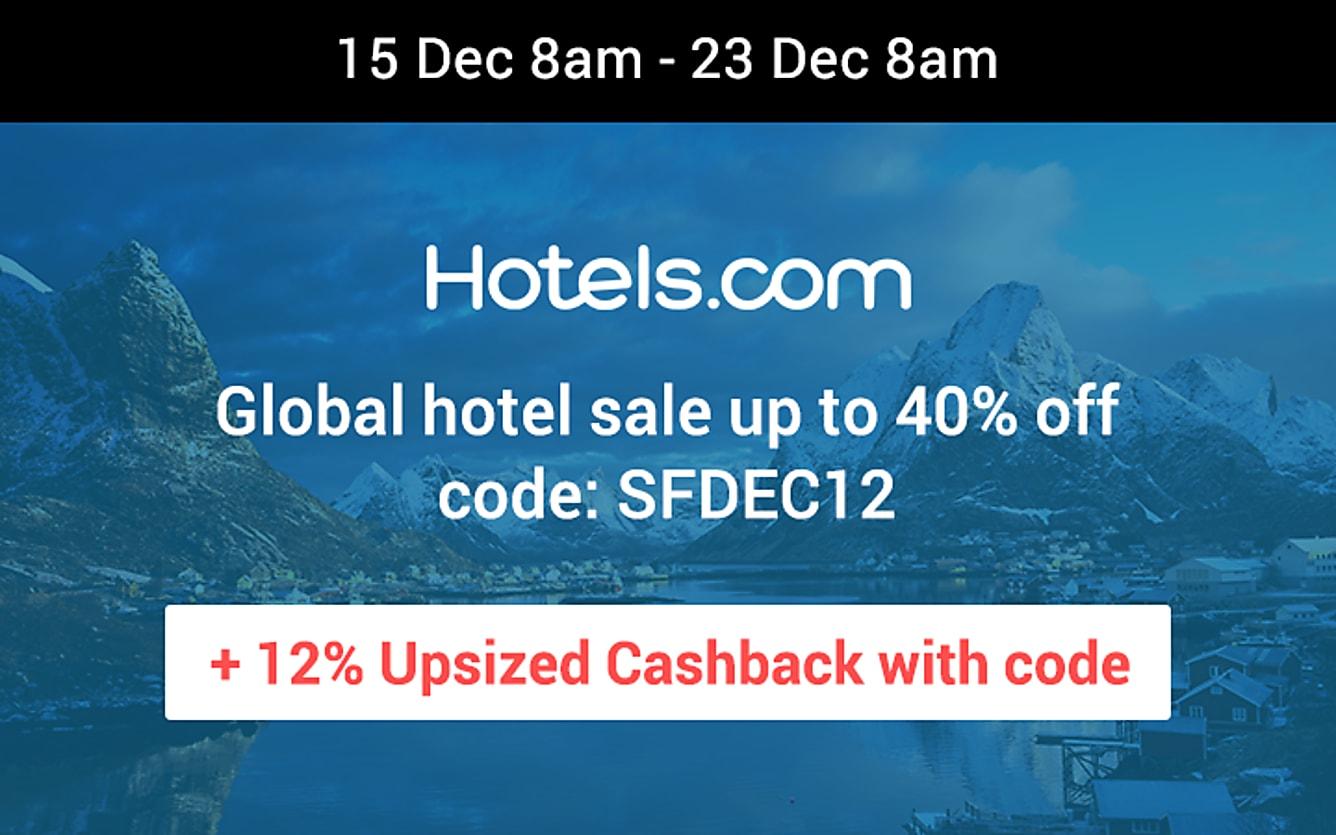 Hotels.com 12% upsized Cashback