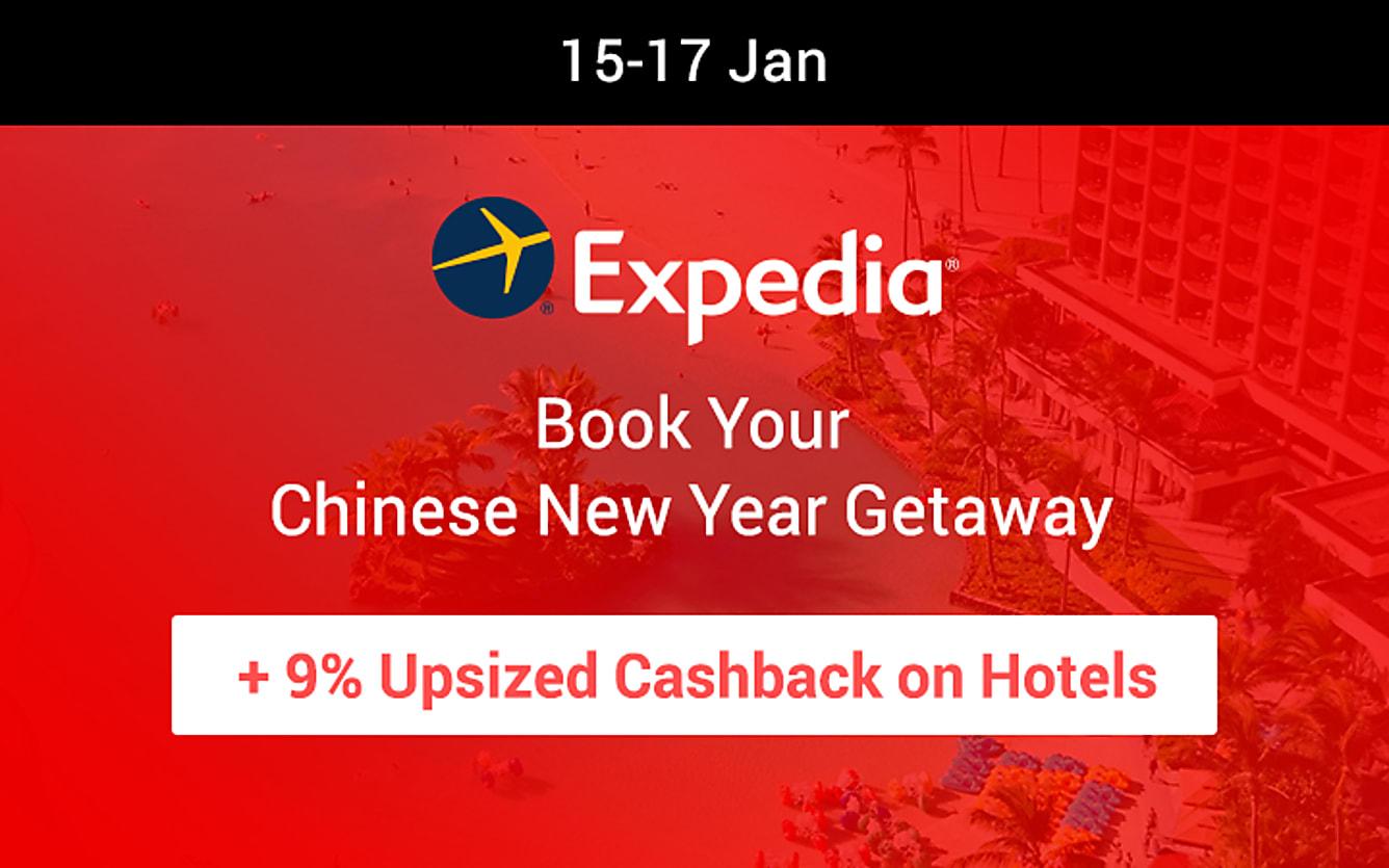 Expedia 9% cashback on hotels