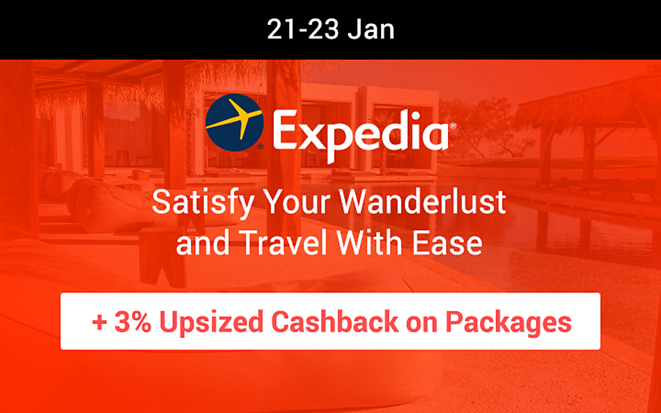 Expedia 3% upsized cashback on packages