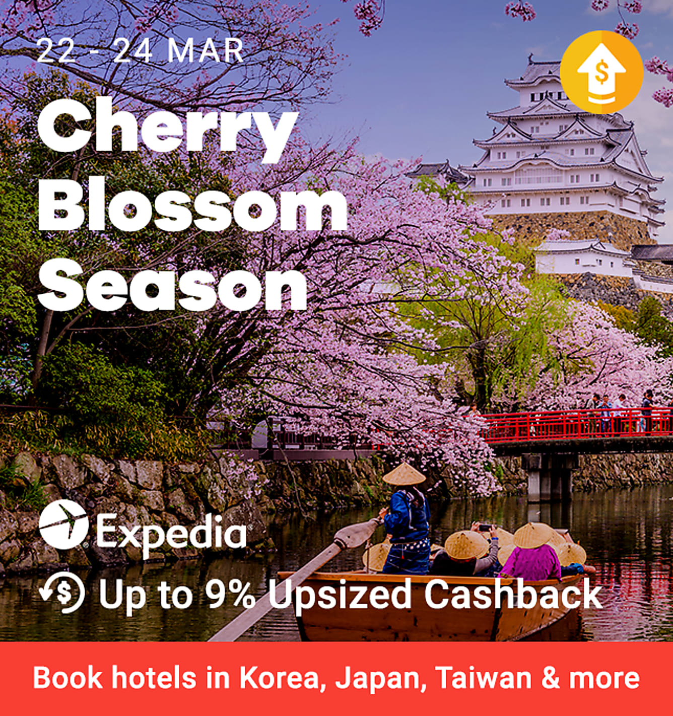 Expedia 9% Upsized Cashback for hotels (was 6%) from 22-24 March + Expedia 3% Upsized Cashback for packages (was 2.5%) from 22-24 March
