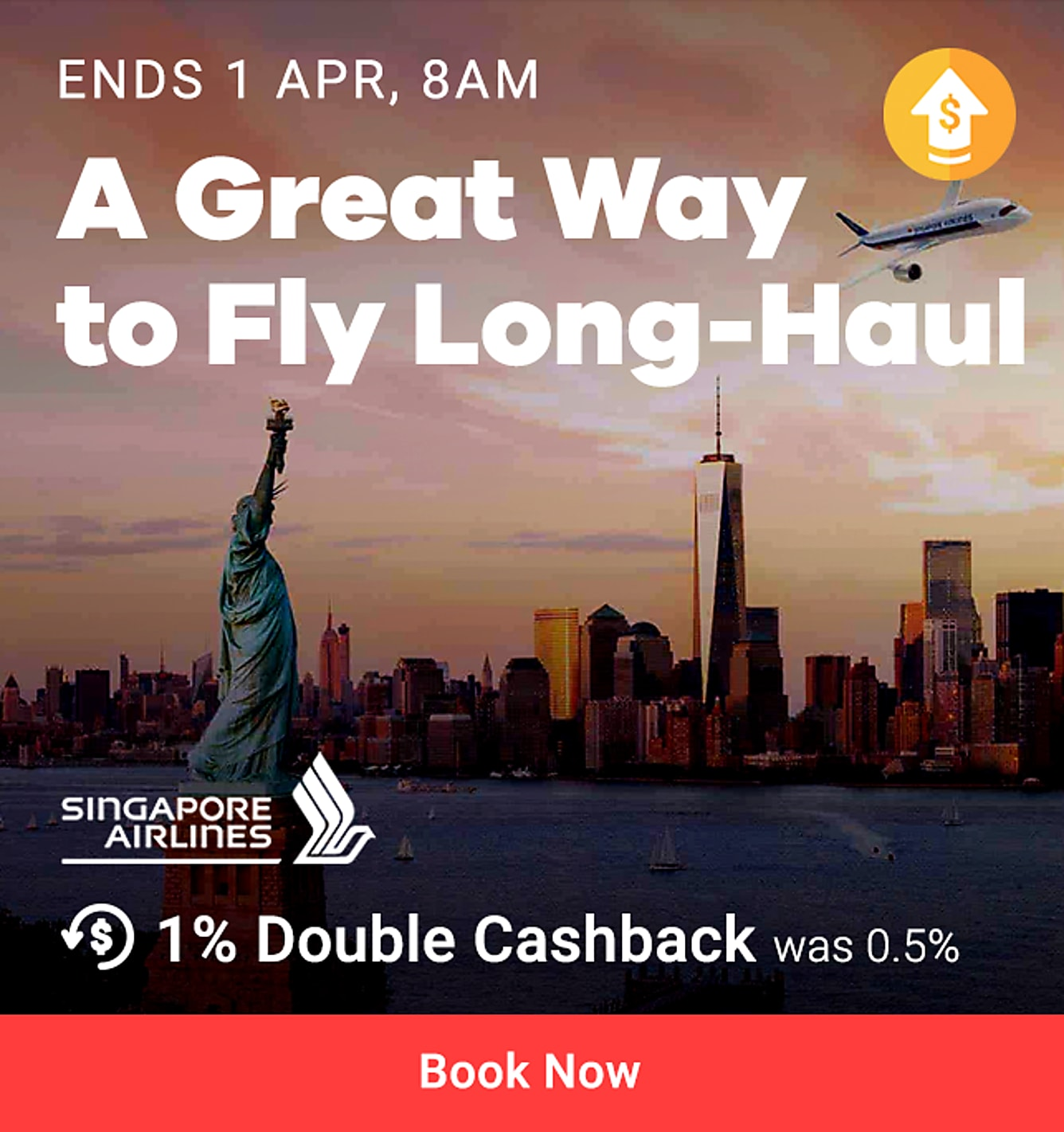 Singapore airlines regular store 1.0% Double Cashback (was 0.5%) from 22 Mar - 1 Apr 8am