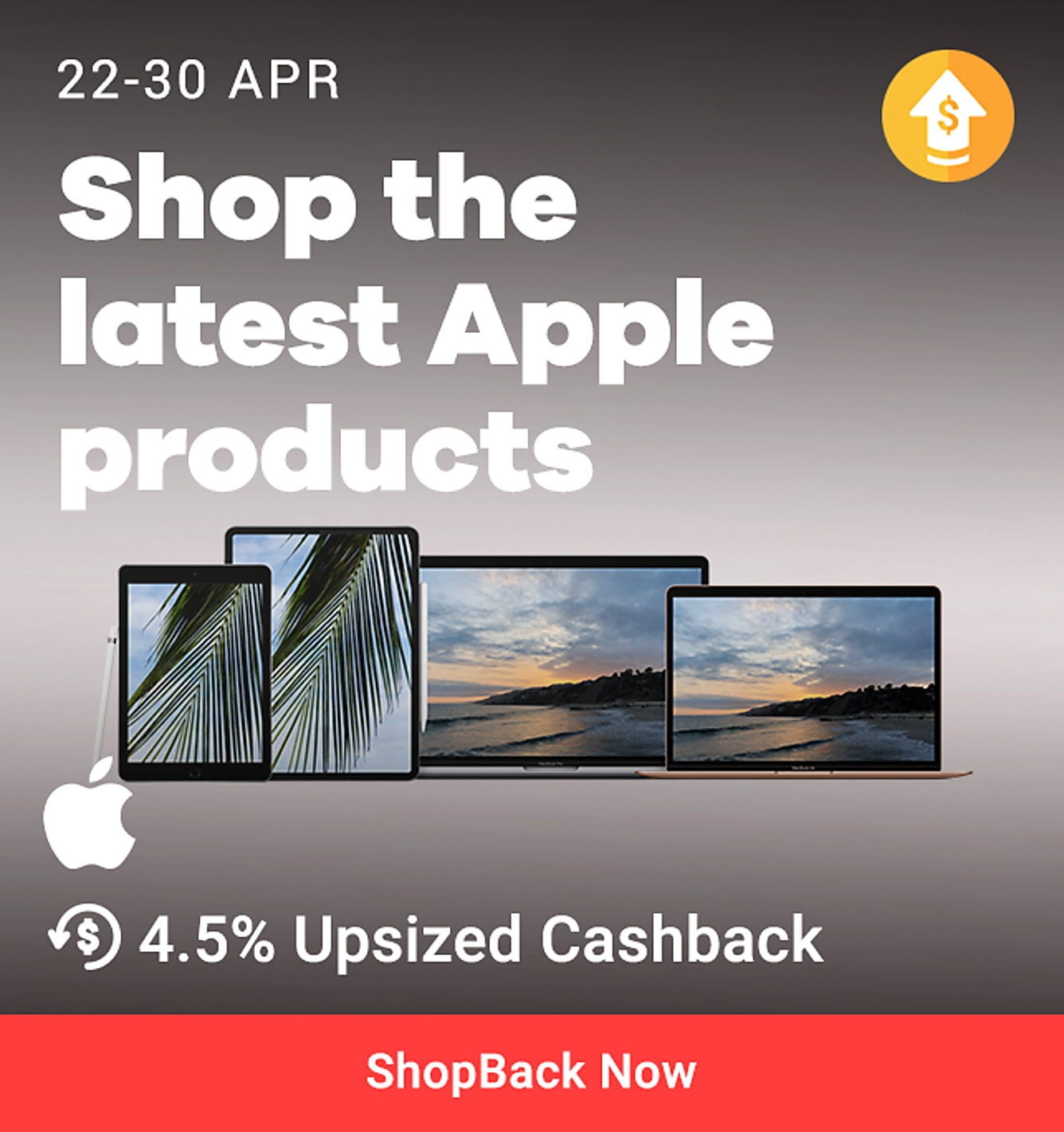 4.5% upsized cashback apple online