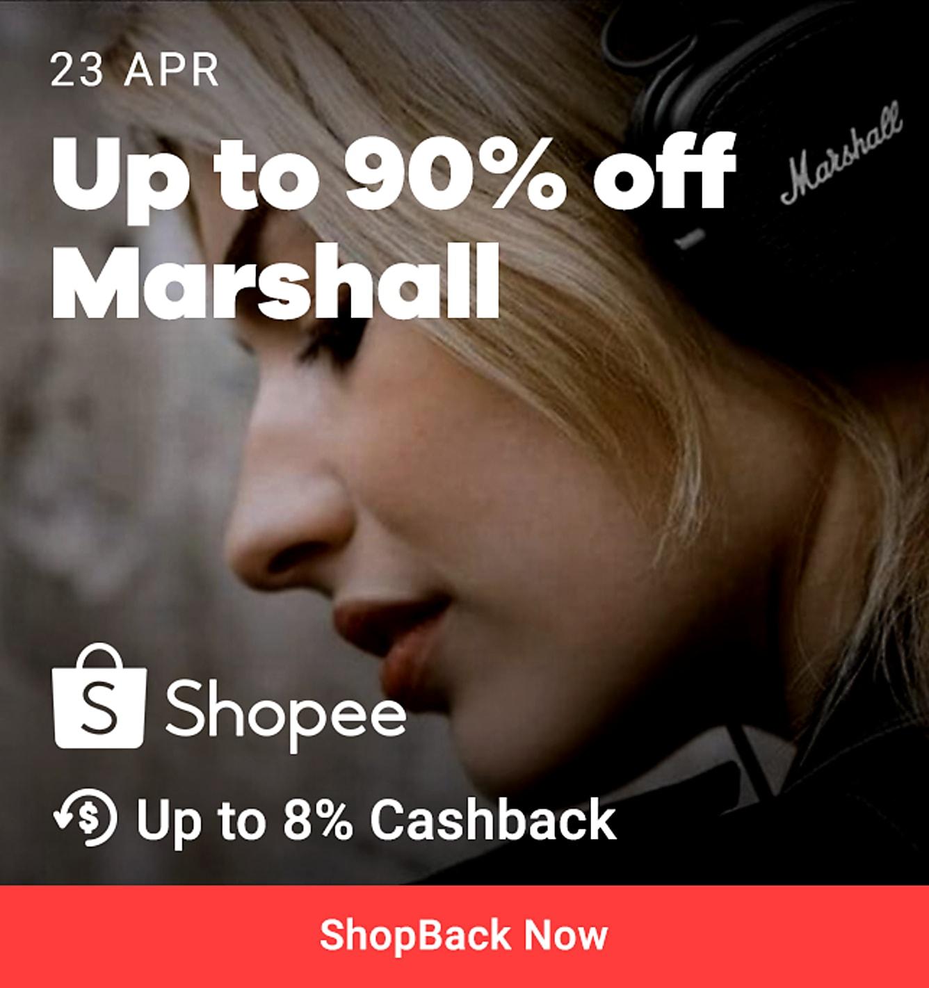 90% off marshal 8% cashback