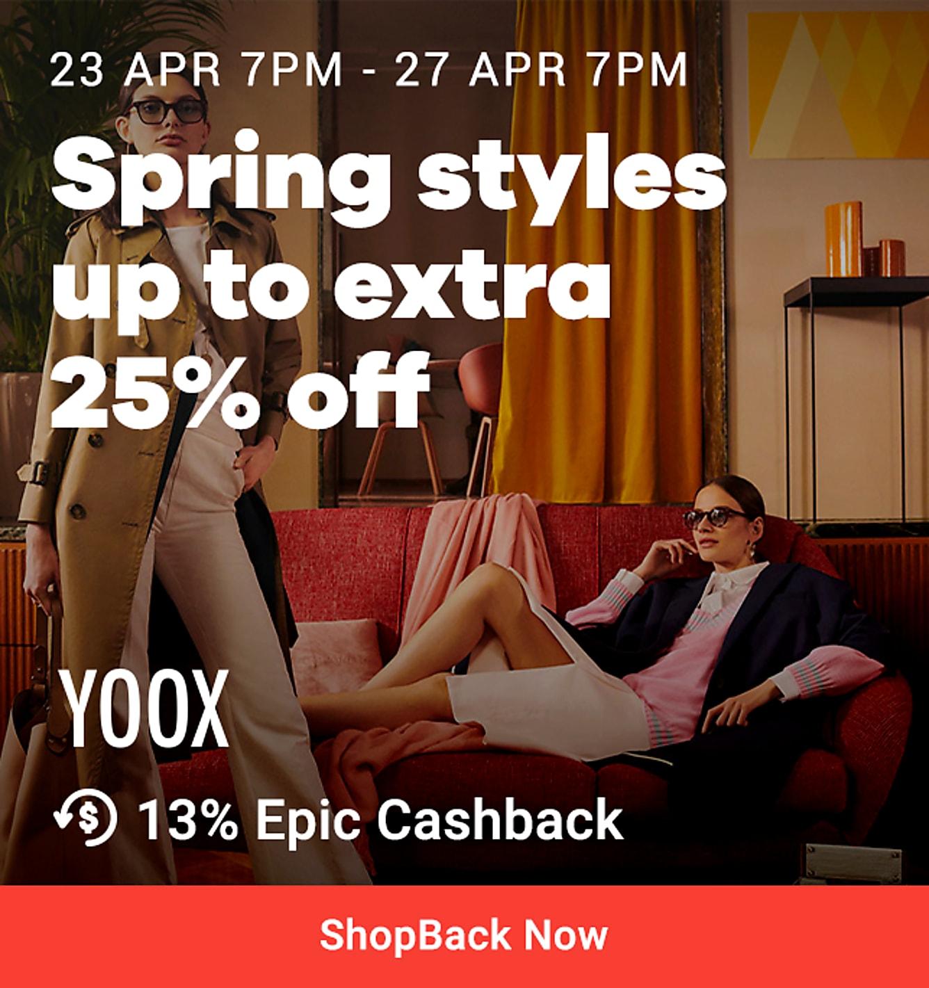 25% off yoox 13% epic cashback