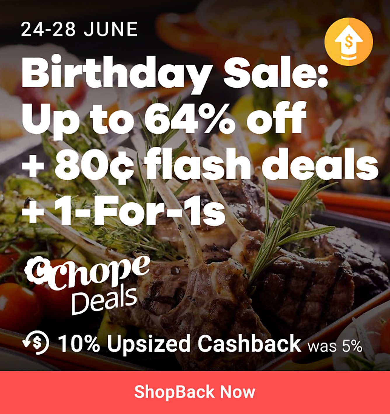 ChopeDeals Birthday Flash Sale up to 64% off + $0.80 flash deals + 1 for 1 + 10% upsized cashback from 24-28 June