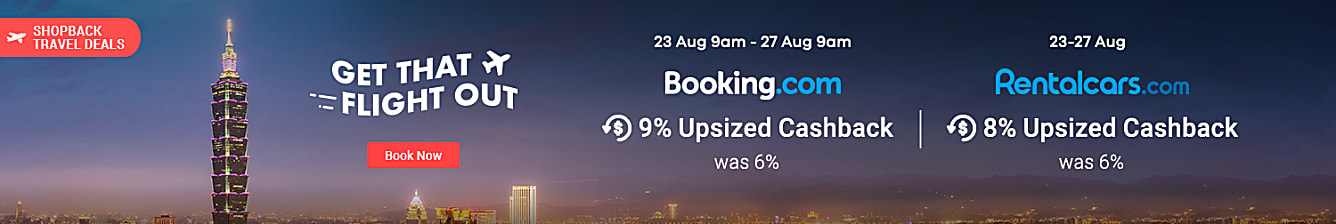 (bundle booking.com + rentalcars together) Booking.com 23 Aug 9am - 27 Aug 9am 9% upsized Cashback (was 6%) Push long weekend calendar 2019, 2020