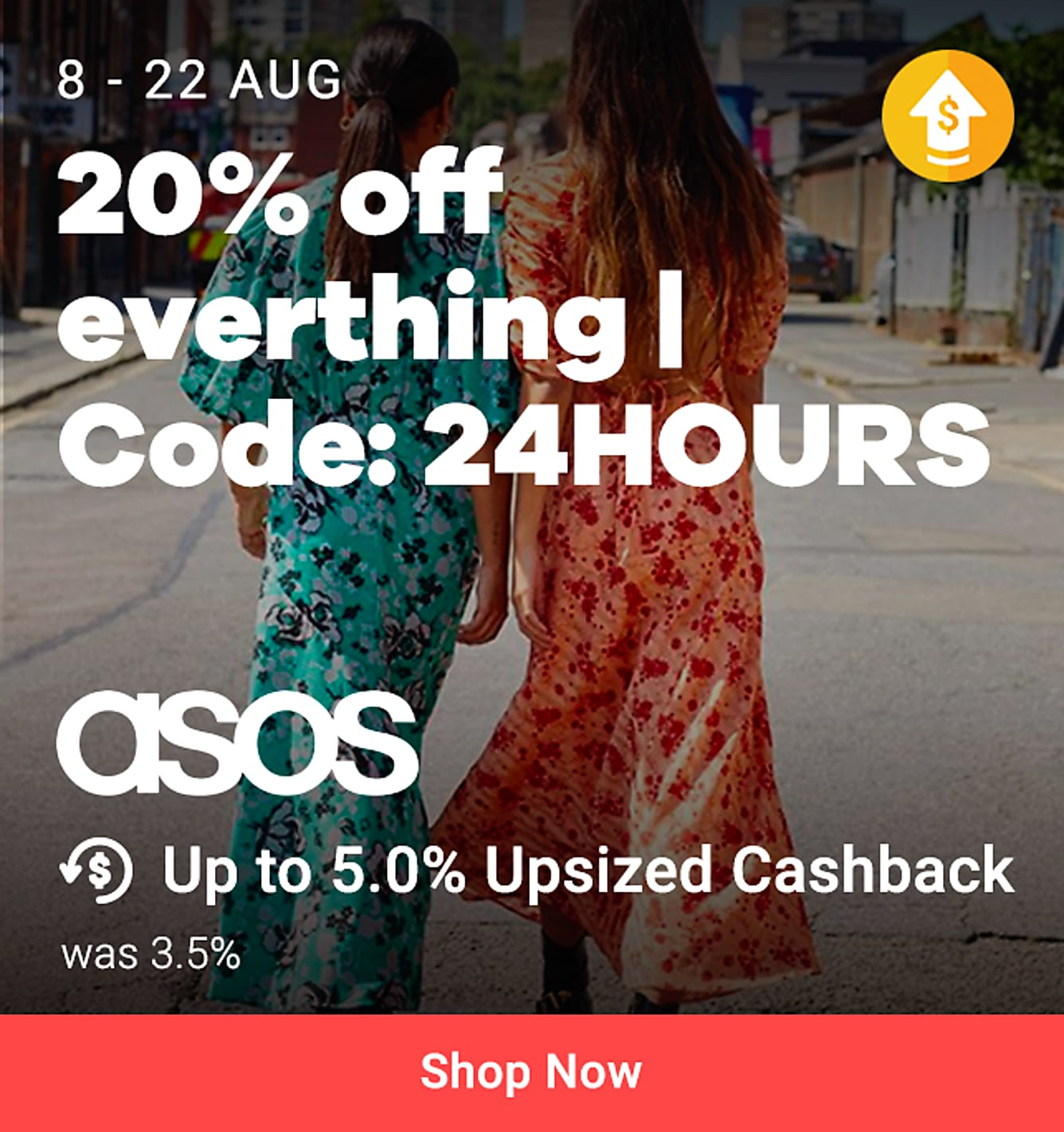 """22 Aug 3pm - 23 Aug 3pm: 20% off everything code """"24HOURS"""" + 5% upsized Cashback (was 3.5%)"""