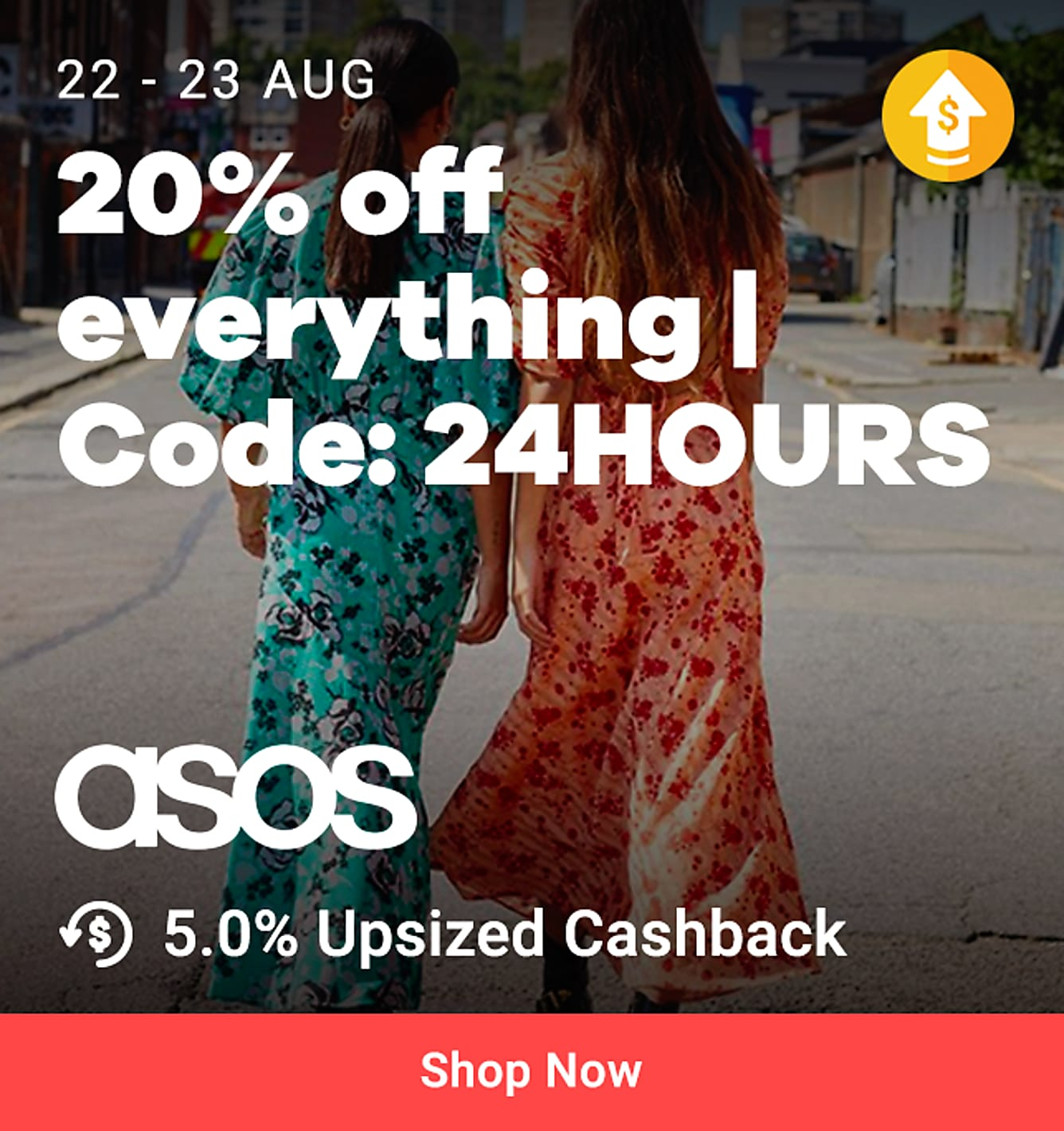 "ASOS 22 Aug 3pm - 23 Aug 3pm: 20% off everything code ""24HOURS"" + 5% upsized Cashback (was 3.5%)"